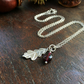 Handmade sterling silver leaf and gemstone necklace
