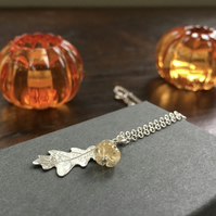 Citrine pumpkin sterling silver leaf necklace