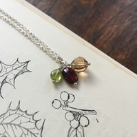 Semi-precious gemstone and crystal charm cluster pendant in festive tones