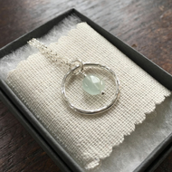 Eco Silver and aquamarine hoop pendant