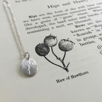 Eco Silver tiny tag pendant with sprig design