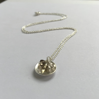 Domed Eco Silver pendant with micro faceted gemstones - fully hallmarked
