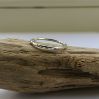 Sterling silver hammered skinny stacking ring