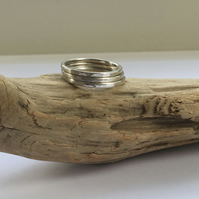 Sterling silver satin skinny stacking ring