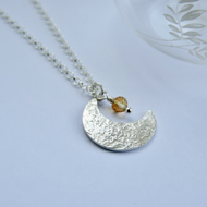"Eco Silver crescent moon pendant with tiny citrine ""star"""