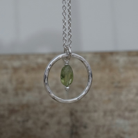 Eco silver and peridot hoop pendant