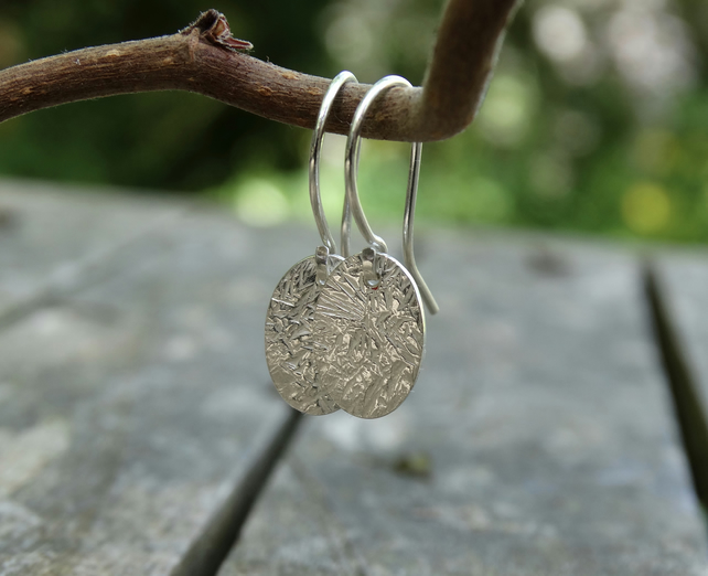Eco Silver tiny tag drop earrings