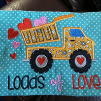 Embroidered and Appliqued Mug Rugs Loads of love lorry and Crazy 4 you