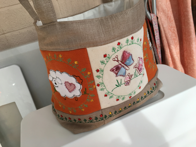 Handcrafted and Embroidered Craft Basket