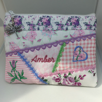 Crazy Patchwork Embroidered Purse makeup bag