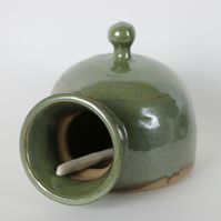 Stoneware Rustic Olive Green Medium Salt Pig
