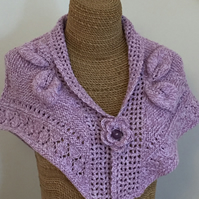 Upcycled knitted shrug, shawl, wrap with detachable flower button fastening