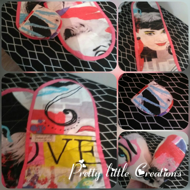 Vintage Themed Brightly Coloured Oven Glove Set