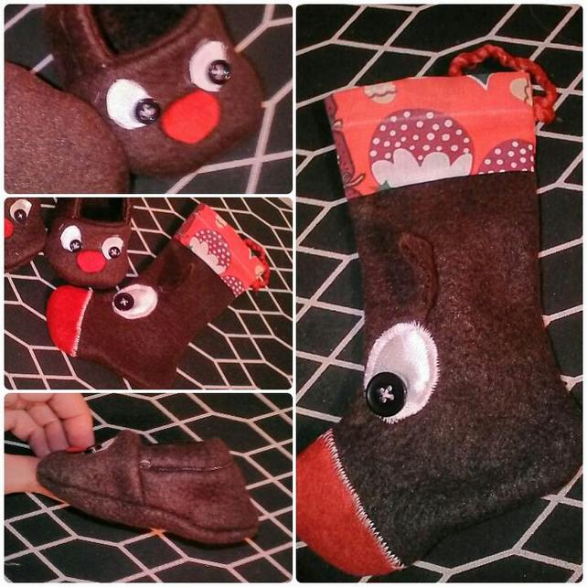 Reindeer slippers & matching 1st stocking