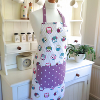 Owls and Purple Dotty Apron