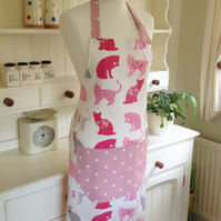 Ladies' Cats and Pink Dotty Apron