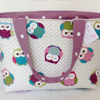 Beautiful Owls Medium Zip Tote Bag, Medium Tote Bag, Medium Zip Bag, Tote