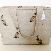 Beautiful Hartley Hare Medium Zip Tote Bag, Medium Tote Bag, Rabbit Zip Bag