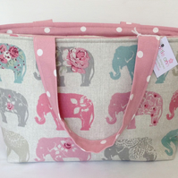 Beautiful Elephants Medium Zip Tote Bag, Medium Tote Bag, Medium Zip Bag, Tote