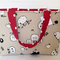 Beautiful Sheep Medium Zip Bag, Medium Tote Bag, Medium Zip Bag, Knitting Bag