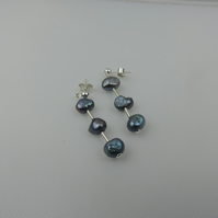 Freshwater Cultured Baroque Pearl and Sterling Silver Earrings