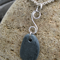 Slate grey black stone and silver wire S shape pendant necklace Welsh jewellery