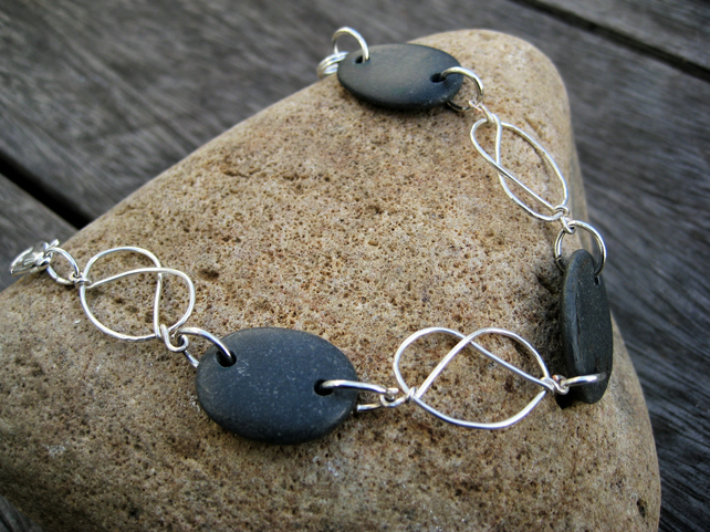Slate grey black silver wire Pretzel bracelet Welsh jewellery