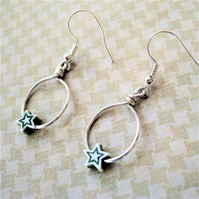 Green star and handcrafted silver ring earrings Vintage Xmas Jewellery