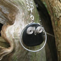 Owl Pendant stone and silver Woodland Owl animal lovers jewellery