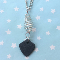 Slate grey black stone silver wire arrow head pendant necklace Welsh jewellery