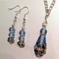 Vintage Blue glass beads pendant necklace and earings set silver plated