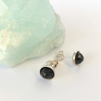 Sterling Silver and Faceted Black Spinel Cabochon Stud Earrings