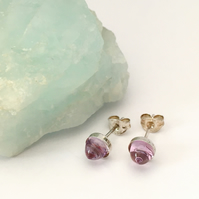 Sterling Silver and Amethyst Bullet Cabochon Stud Earrings