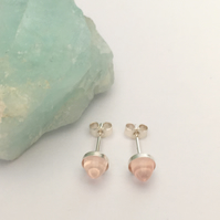Sterling Silver and Rose Quartz Bullet Cabochon Stud Earrings