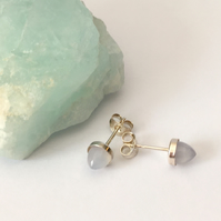 Sterling Silver and Chalcedony Bullet Cabochon Stud Earrings