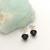Sterling Silver and Black Spinel Bullet Cabochon Stud Earrings
