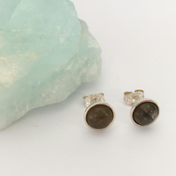 Sterling Silver and Labradorite Cabochon 6mm Stud Earrings