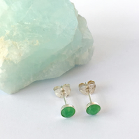 Sterling Silver and Rose Cut Green Chrysoprase Cabochon Stud Earrings
