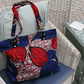 Tote Bag - Zipped Top - Traditional African Kitenge Fabric - Blue Red Black