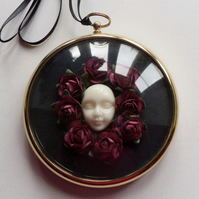 Gilt Framed Surreal Miniature with Burgundy Flowers