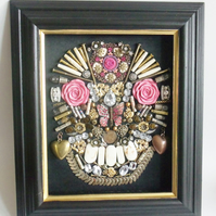 Large Mixed Media Assemblage of Large Skull