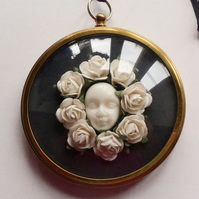 Gilt Framed Surreal Miniature with White Flowers