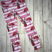 PINK flamingo leggings - girls, sizes 0-3 months to 4-5 years.