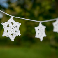 Christmas star garland, crochet snowflake bunting, Christmas decoration.