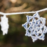 Pale purple Crochet star garland.