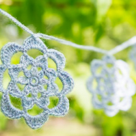Crochet flower garland, pale purple flower decoration, crochet bunting.