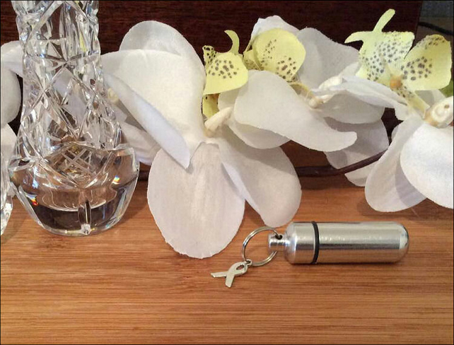 Personal Cremation Urn Set with Charity Ribbon charm. Free Velvet Pouch and Fill