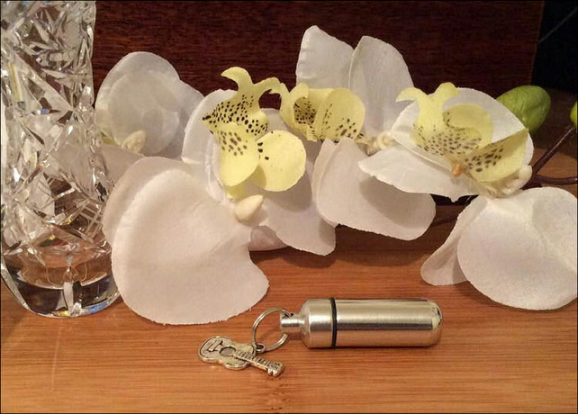 Personal Cremation Urn Set with Acoustic Guitar charm, velvet pouch and fill kit