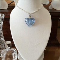 "Beautiful Blue Heart Pendant Crystal Cremation Ashes Urn on a 24"" Silver Chain"