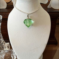 "Beautiful Green 3D Heart Crystal Cremation Urn on a 24"" Silver Chain"